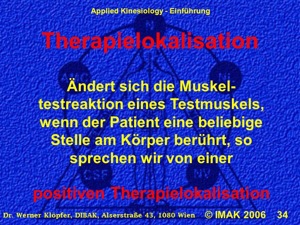 Applied Kinesiology - Einführung © IMAK 2006 34 Dr. Werner Klöpfer, DIBAK, Alserstraße 43, 1080 Wien Therapielokalisation Ändert sich die Muskel- test