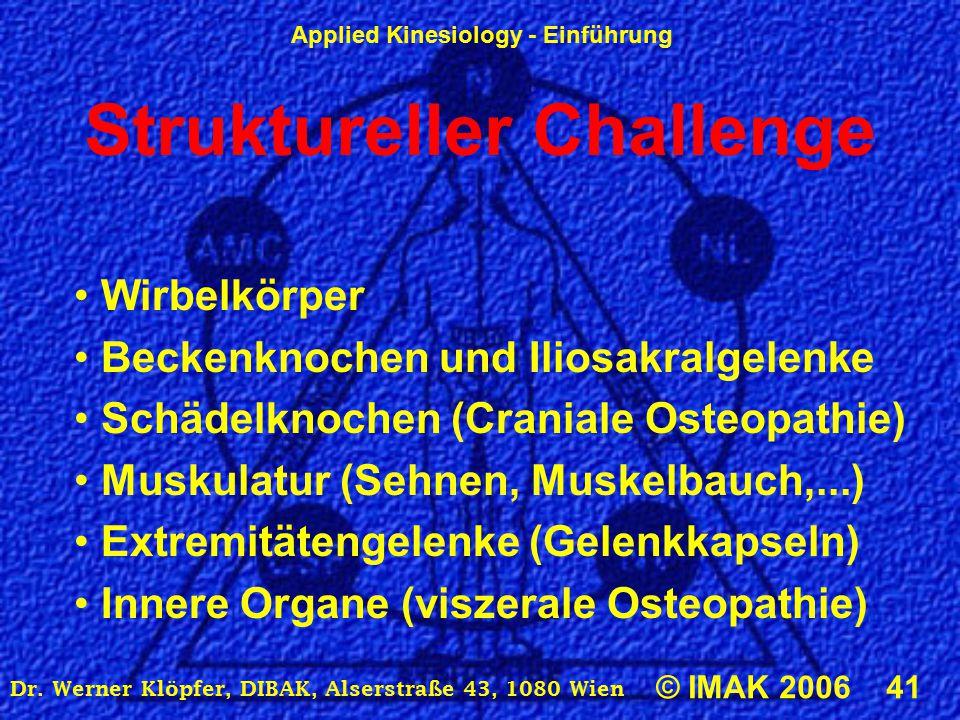 Applied Kinesiology - Einführung © IMAK 2006 41 Dr. Werner Klöpfer, DIBAK, Alserstraße 43, 1080 Wien Struktureller Challenge Wirbelkörper Beckenknoche