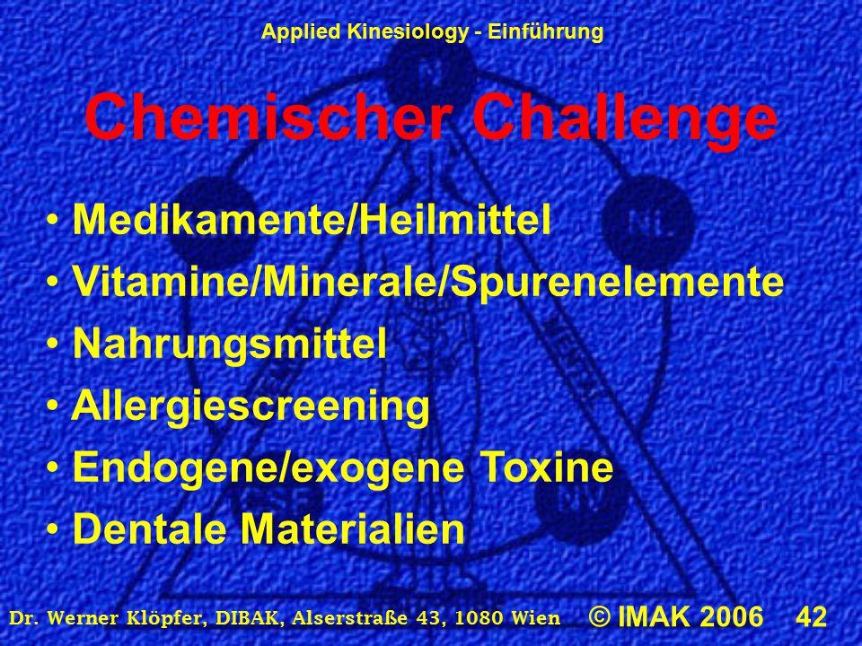 Applied Kinesiology - Einführung © IMAK 2006 42 Dr. Werner Klöpfer, DIBAK, Alserstraße 43, 1080 Wien Chemischer Challenge Medikamente/Heilmittel Vitam