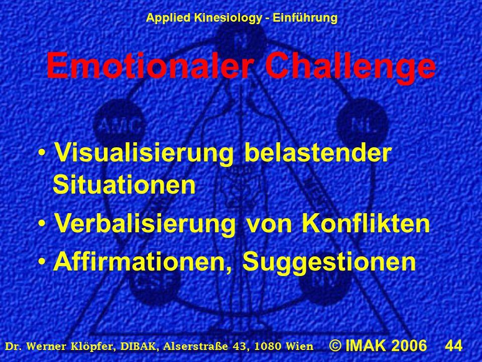 Applied Kinesiology - Einführung © IMAK 2006 44 Dr. Werner Klöpfer, DIBAK, Alserstraße 43, 1080 Wien Emotionaler Challenge Visualisierung belastender