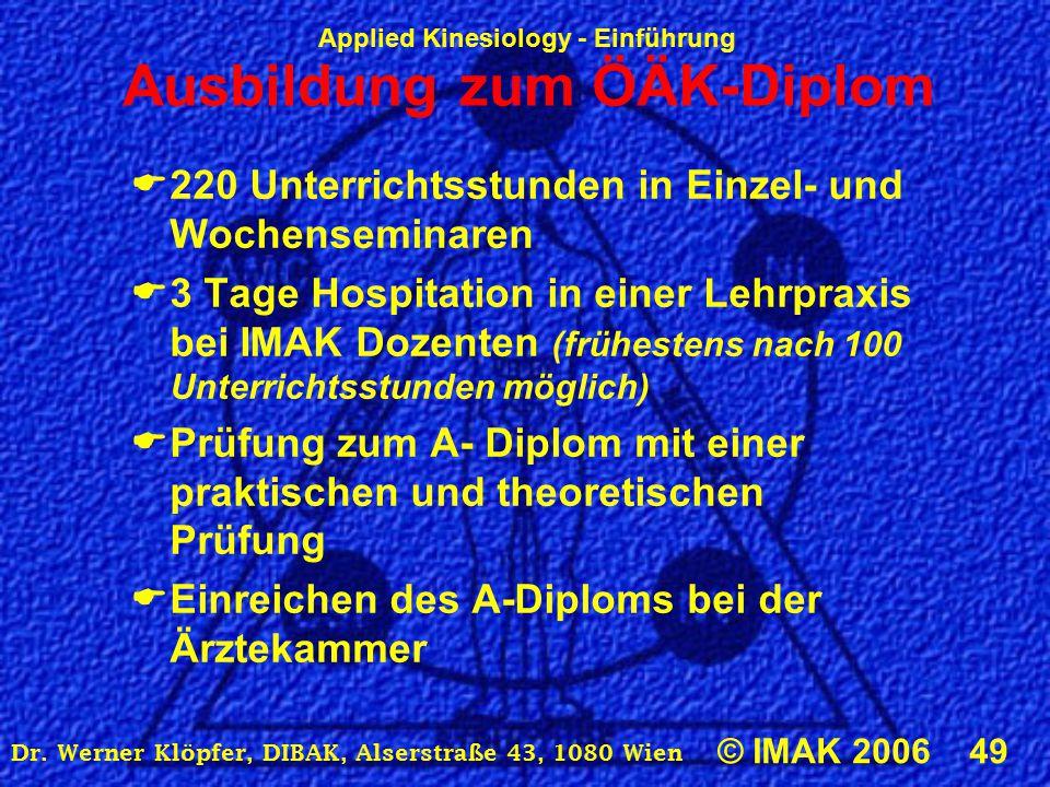 Applied Kinesiology - Einführung © IMAK 2006 49 Dr. Werner Klöpfer, DIBAK, Alserstraße 43, 1080 Wien Ausbildung zum ÖÄK-Diplom  220 Unterrichtsstunde