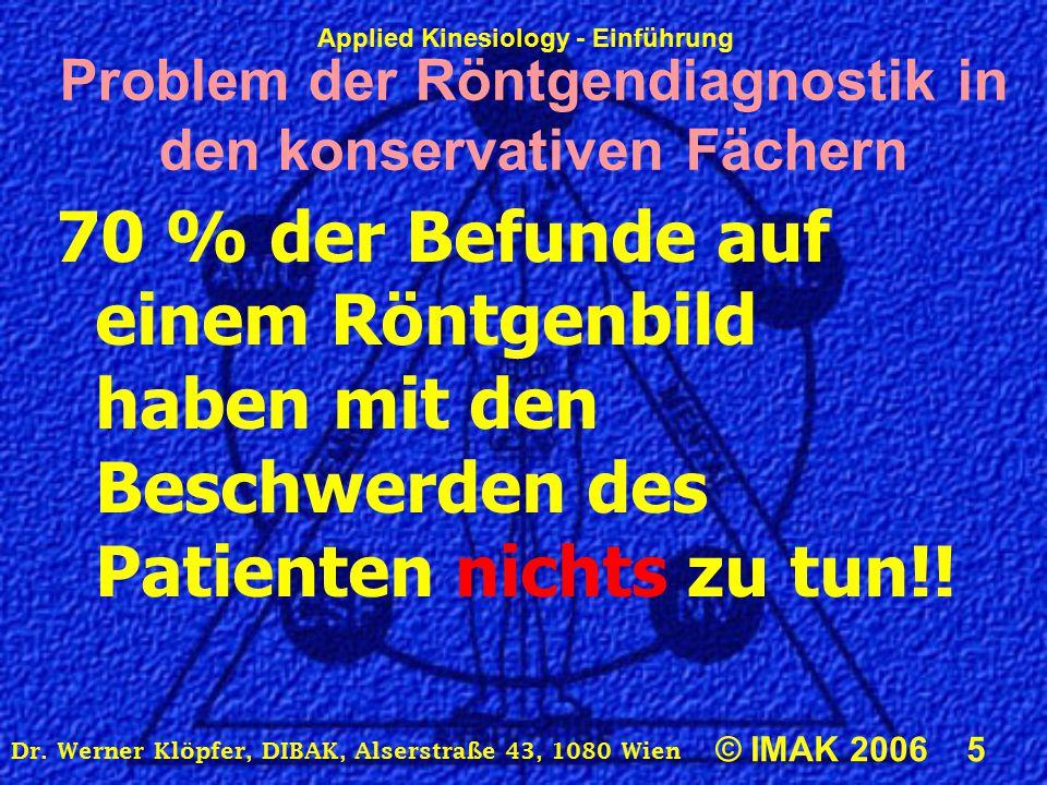 Applied Kinesiology - Einführung © IMAK 2006 5 Dr. Werner Klöpfer, DIBAK, Alserstraße 43, 1080 Wien Problem der Röntgendiagnostik in den konservativen