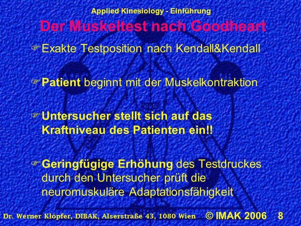 Applied Kinesiology - Einführung © IMAK 2006 8 Dr. Werner Klöpfer, DIBAK, Alserstraße 43, 1080 Wien Der Muskeltest nach Goodheart  Exakte Testpositio