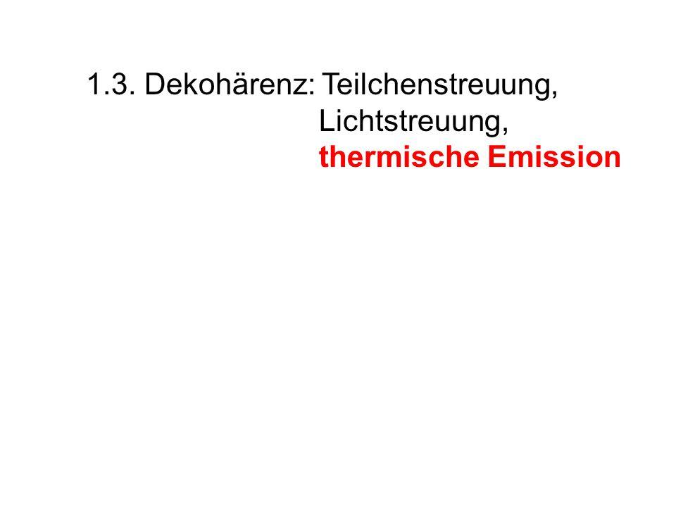 1.3. Dekohärenz: Teilchenstreuung, Lichtstreuung, thermische Emission