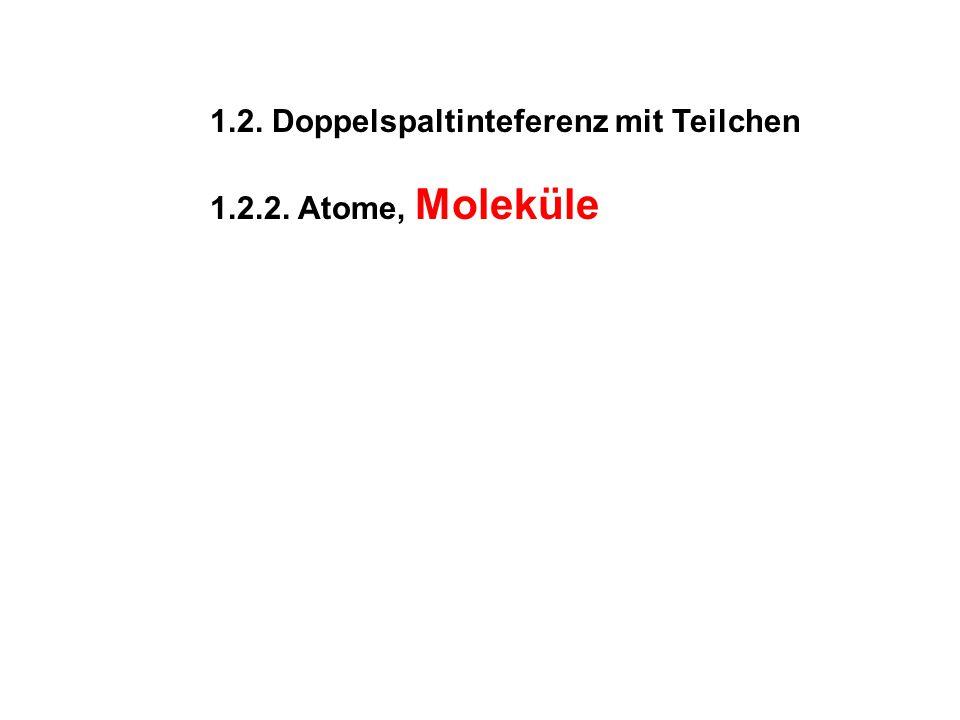 1.2. Doppelspaltinteferenz mit Teilchen 1.2.2. Atome, Moleküle