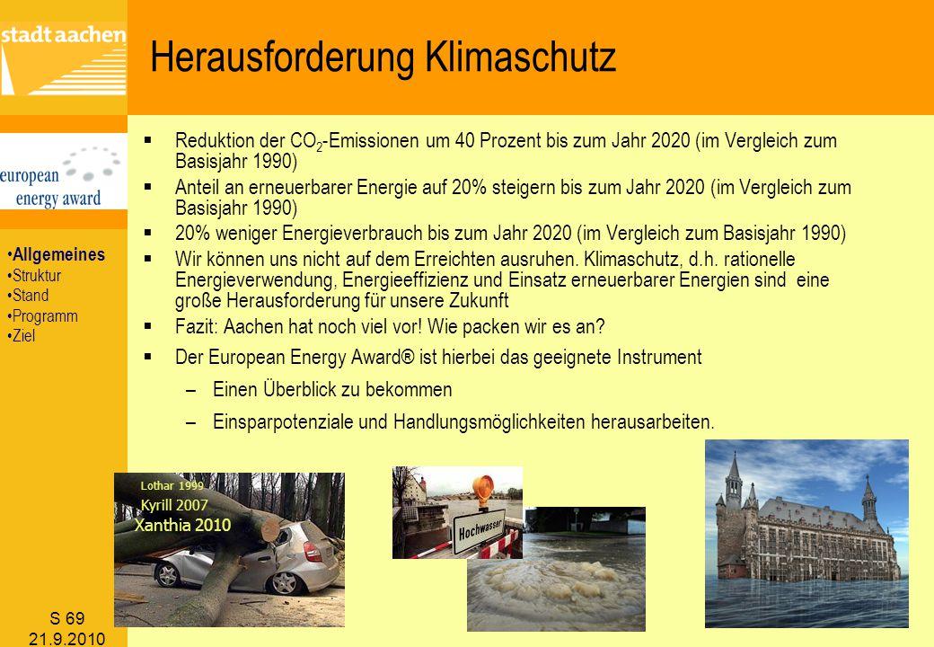 S 69 21.9.2010  Reduktion der CO 2 -Emissionen um 40 Prozent bis zum Jahr 2020 (im Vergleich zum Basisjahr 1990)  Anteil an erneuerbarer Energie auf