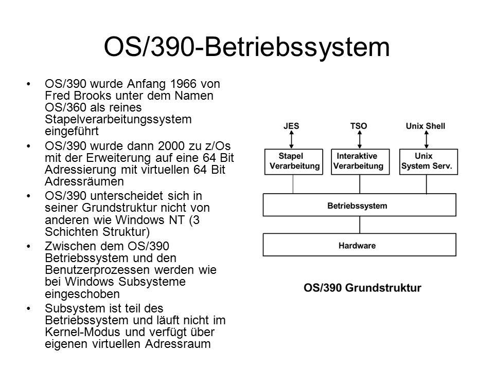 OS/390 wurde Anfang 1966 von Fred Brooks unter dem Namen OS/360 als reines Stapelverarbeitungssystem eingeführt OS/390 wurde dann 2000 zu z/Os mit der Erweiterung auf eine 64 Bit Adressierung mit virtuellen 64 Bit Adressräumen OS/390 unterscheidet sich in seiner Grundstruktur nicht von anderen wie Windows NT (3 Schichten Struktur) Zwischen dem OS/390 Betriebssystem und den Benutzerprozessen werden wie bei Windows Subsysteme eingeschoben Subsystem ist teil des Betriebssystem und läuft nicht im Kernel-Modus und verfügt über eigenen virtuellen Adressraum