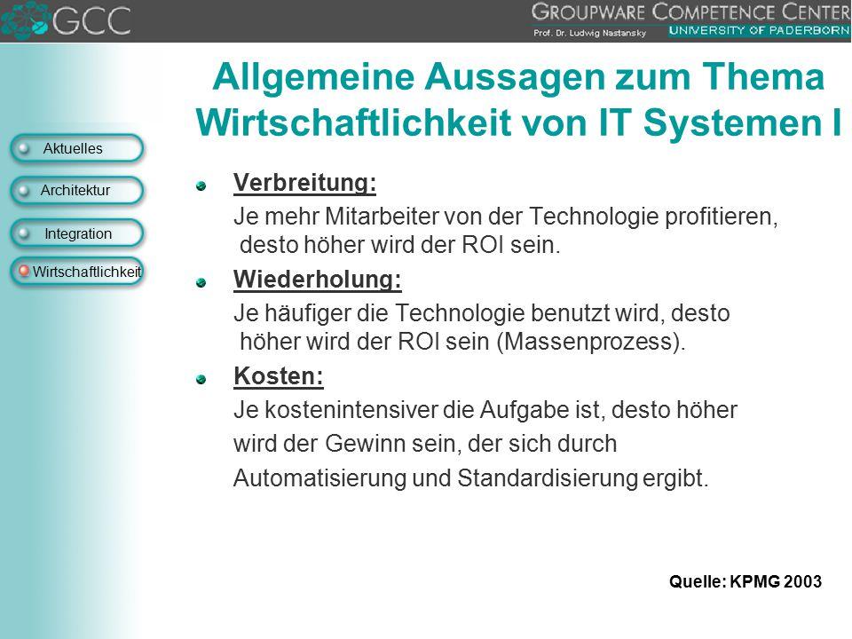 Aktuelles Architektur Integration Wirtschaftlichkeit Allgemeine Aussagen zum Thema Wirtschaftlichkeit von IT Systemen I Verbreitung: Je mehr Mitarbeit