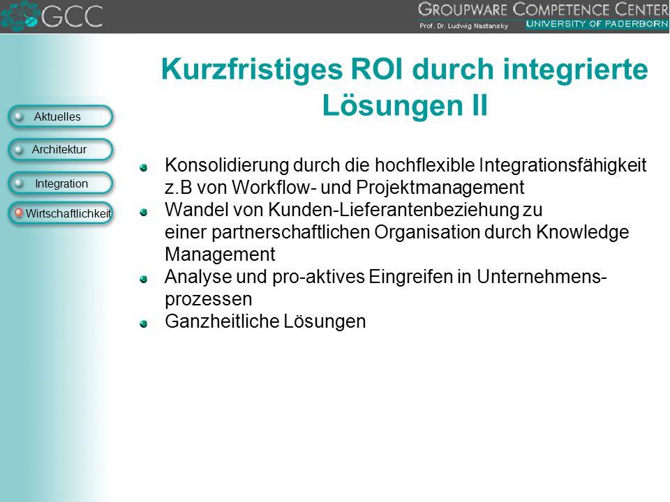 Aktuelles Architektur Integration Wirtschaftlichkeit Konsolidierung durch die hochflexible Integrationsfähigkeit z.B von Workflow- und Projektmanageme