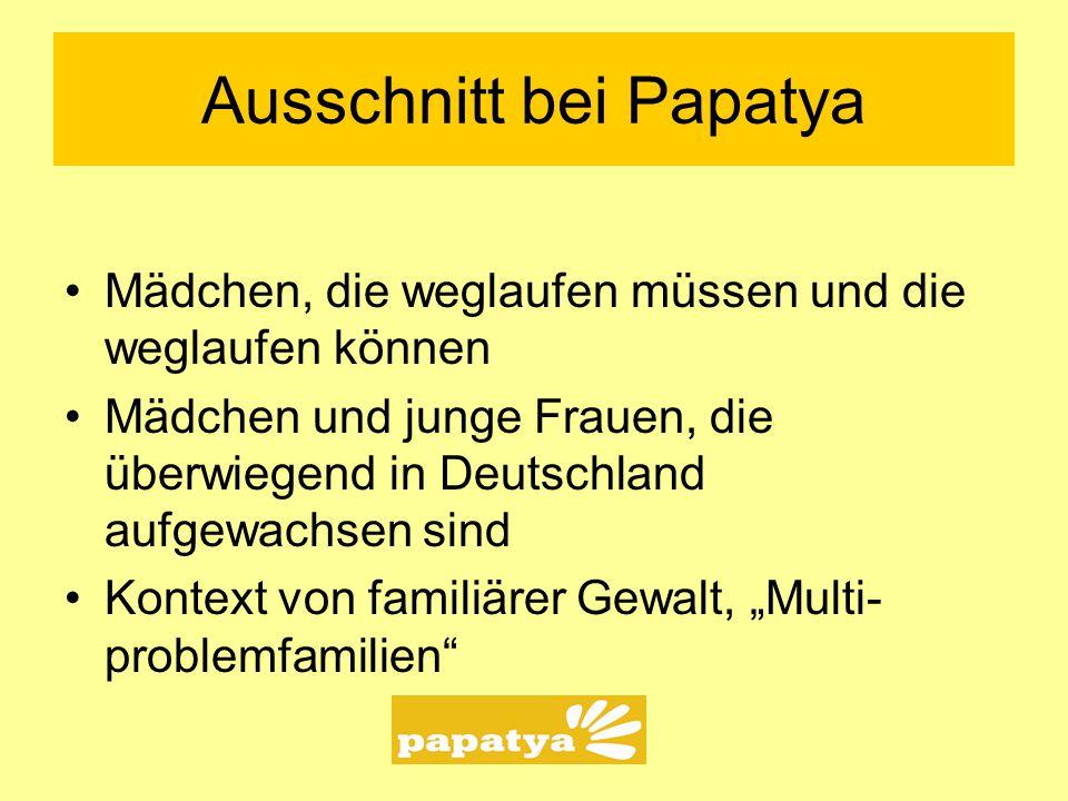Ausschnitt bei Papatya Mädchen, die weglaufen müssen und die weglaufen können Mädchen und junge Frauen, die überwiegend in Deutschland aufgewachsen si