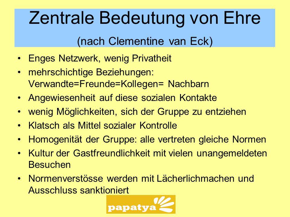 Zentrale Bedeutung von Ehre (nach Clementine van Eck) Enges Netzwerk, wenig Privatheit mehrschichtige Beziehungen: Verwandte=Freunde=Kollegen= Nachbar