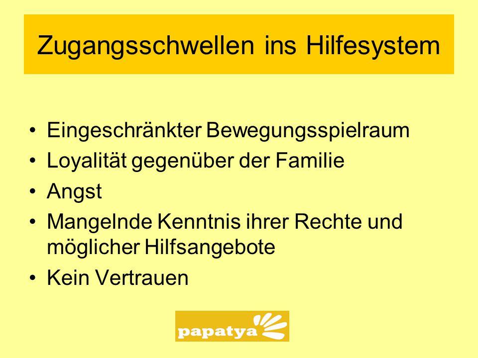 """Ausschnitt bei Papatya Mädchen, die weglaufen müssen und die weglaufen können Mädchen und junge Frauen, die überwiegend in Deutschland aufgewachsen sind Kontext von familiärer Gewalt, """"Multi- problemfamilien"""