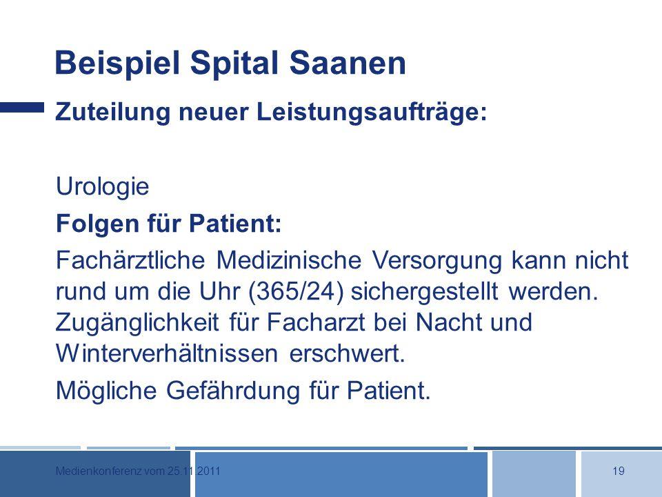 Beispiel Spital Saanen Zuteilung neuer Leistungsaufträge: Urologie Folgen für Patient: Fachärztliche Medizinische Versorgung kann nicht rund um die Uhr (365/24) sichergestellt werden.
