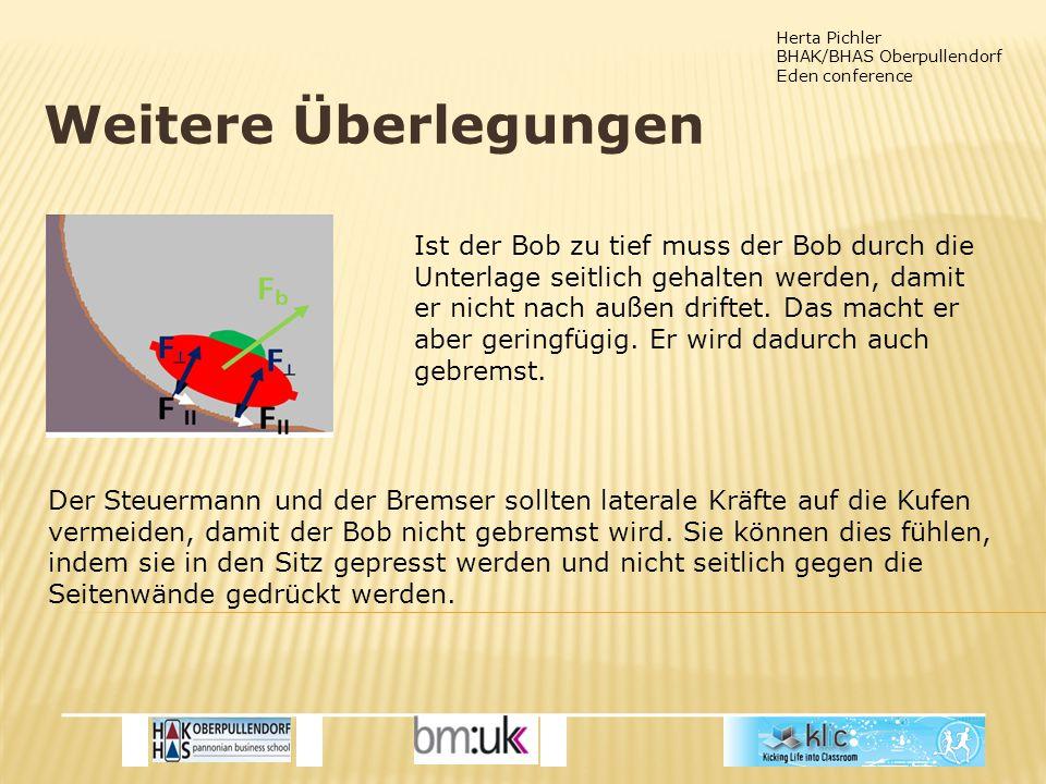 Herta Pichler BHAK/BHAS Oberpullendorf Eden conference Weitere Überlegungen Ist der Bob zu tief muss der Bob durch die Unterlage seitlich gehalten werden, damit er nicht nach außen driftet.