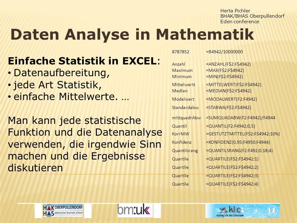 Herta Pichler BHAK/BHAS Oberpullendorf Eden conference Daten Analyse in Mathematik Einfache Statistik in EXCEL: Datenaufbereitung, jede Art Statistik, einfache Mittelwerte.