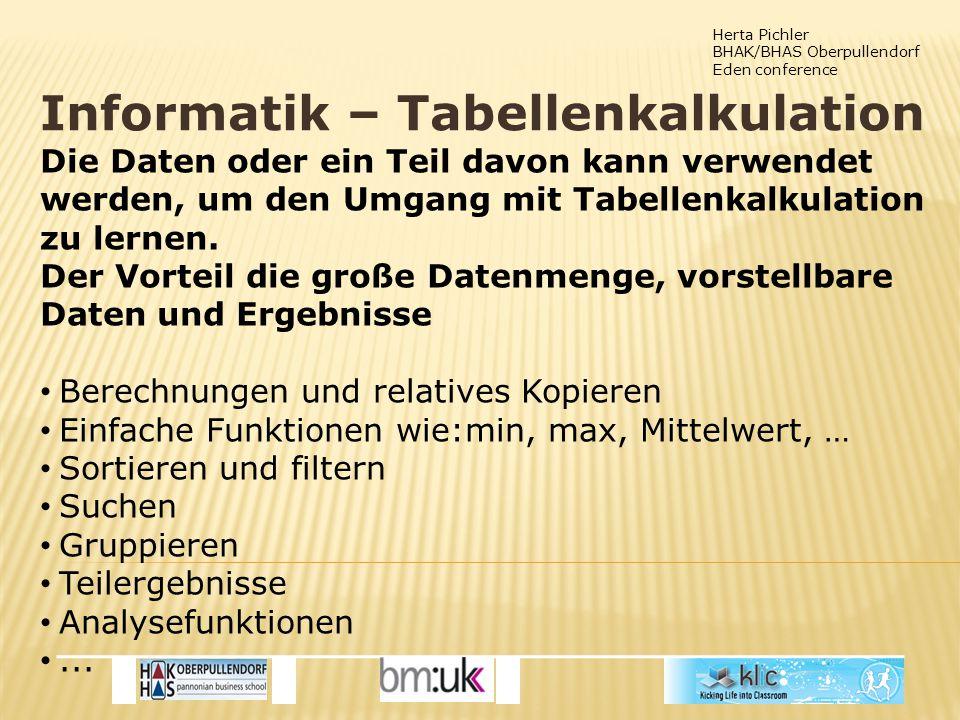 Herta Pichler BHAK/BHAS Oberpullendorf Eden conference Informatik – Tabellenkalkulation Die Daten oder ein Teil davon kann verwendet werden, um den Umgang mit Tabellenkalkulation zu lernen.