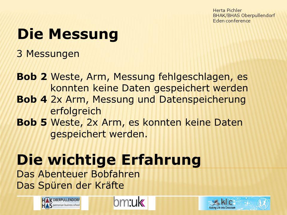Herta Pichler BHAK/BHAS Oberpullendorf Eden conference Die Messung 3 Messungen Bob 2 Weste, Arm, Messung fehlgeschlagen, es konnten keine Daten gespeichert werden Bob 4 2x Arm, Messung und Datenspeicherung erfolgreich Bob 5 Weste, 2x Arm, es konnten keine Daten gespeichert werden.