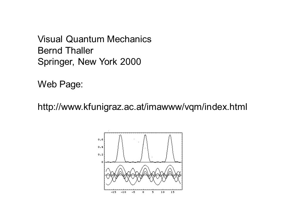 Visual Quantum Mechanics Bernd Thaller Springer, New York 2000 Web Page: http://www.kfunigraz.ac.at/imawww/vqm/index.html
