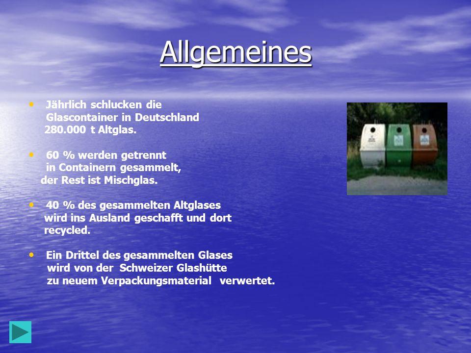Allgemeines Jährlich schlucken die Glascontainer in Deutschland 280.000 t Altglas.