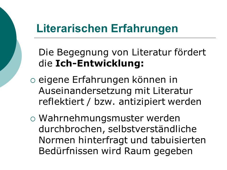 Literarischen Erfahrungen Die Begegnung von Literatur fördert die Ich-Entwicklung:  eigene Erfahrungen können in Auseinandersetzung mit Literatur ref