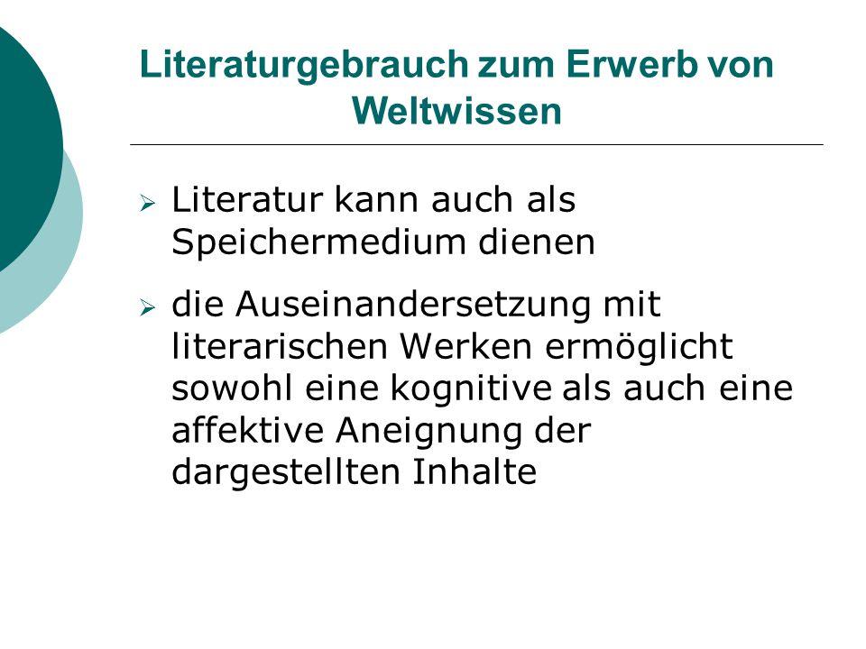 Literaturgebrauch zum Erwerb von Weltwissen  Literatur kann auch als Speichermedium dienen  die Auseinandersetzung mit literarischen Werken ermöglic