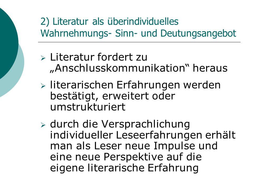 """2) Literatur als überindividuelles Wahrnehmungs- Sinn- und Deutungsangebot  Literatur fordert zu """"Anschlusskommunikation"""" heraus  literarischen Erfa"""