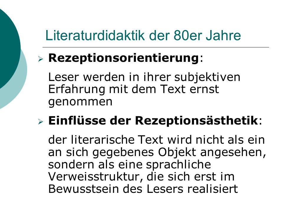 Literaturdidaktik der 80er Jahre  Rezeptionsorientierung: Leser werden in ihrer subjektiven Erfahrung mit dem Text ernst genommen  Einflüsse der Rez