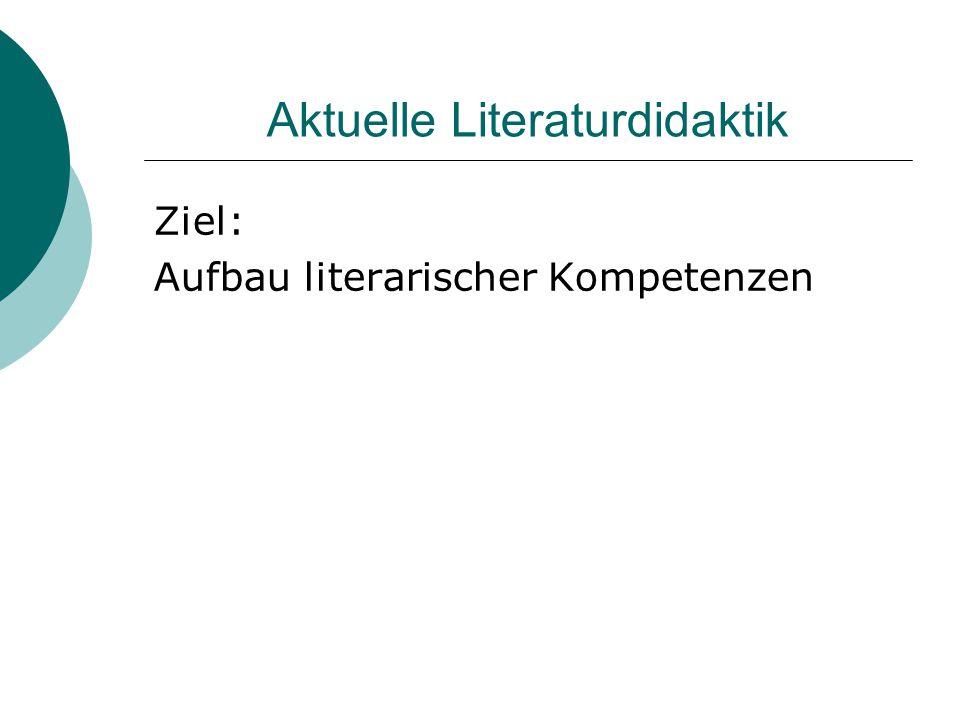 Aktuelle Literaturdidaktik Ziel: Aufbau literarischer Kompetenzen
