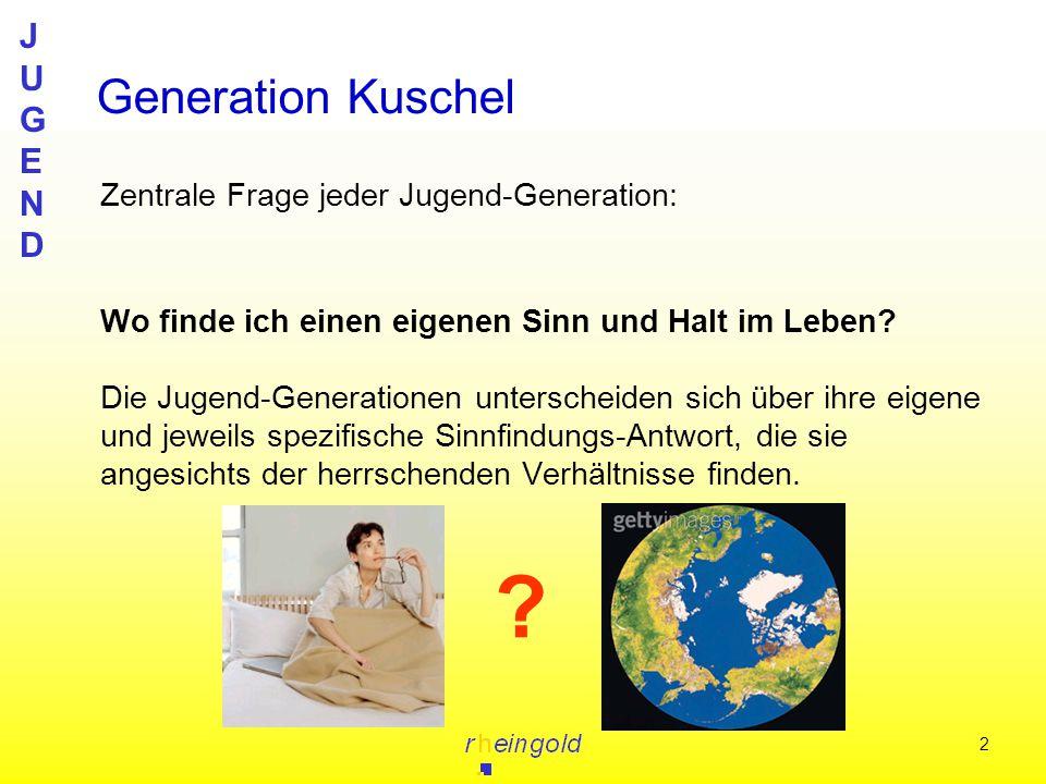JUGENDJUGEND 2 Zentrale Frage jeder Jugend-Generation: Wo finde ich einen eigenen Sinn und Halt im Leben? Die Jugend-Generationen unterscheiden sich ü
