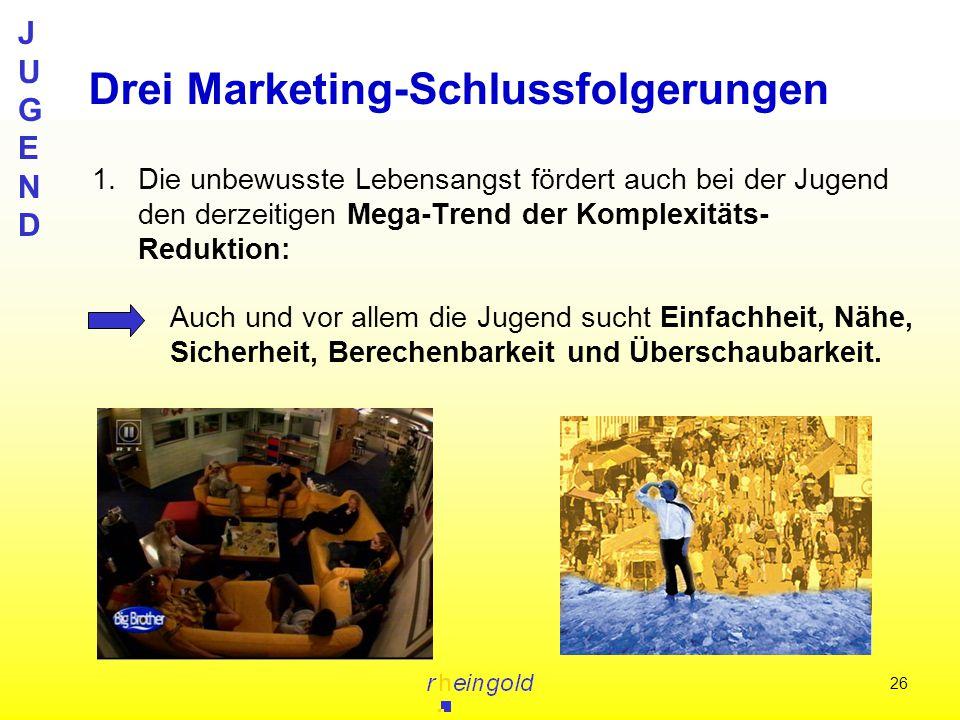 JUGENDJUGEND 26 1.Die unbewusste Lebensangst fördert auch bei der Jugend den derzeitigen Mega-Trend der Komplexitäts- Reduktion: Drei Marketing-Schlus