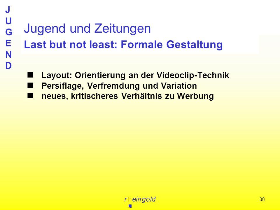 JUGENDJUGEND 38 Jugend und Zeitungen Last but not least: Formale Gestaltung Layout: Orientierung an der Videoclip-Technik Persiflage, Verfremdung und