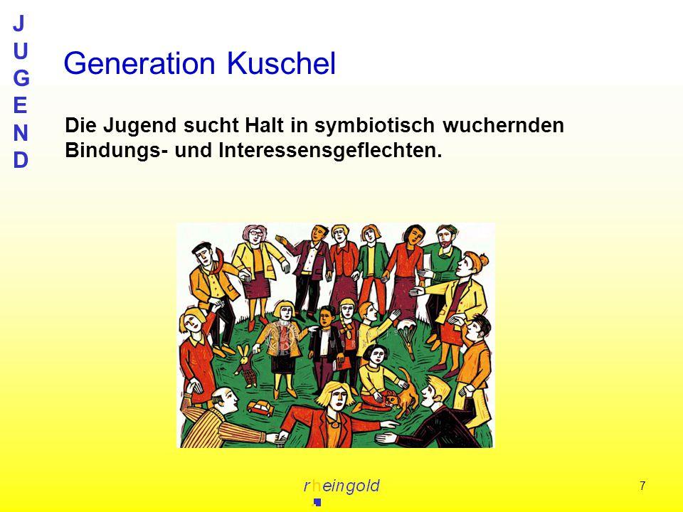 JUGENDJUGEND 7 Generation Kuschel Die Jugend sucht Halt in symbiotisch wuchernden Bindungs- und Interessensgeflechten.
