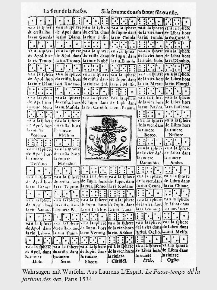 11 Wahrsagen mit Würfeln. Aus Laurens L'Esprit: Le Passe-temps de la fortune des dez, Paris 1534