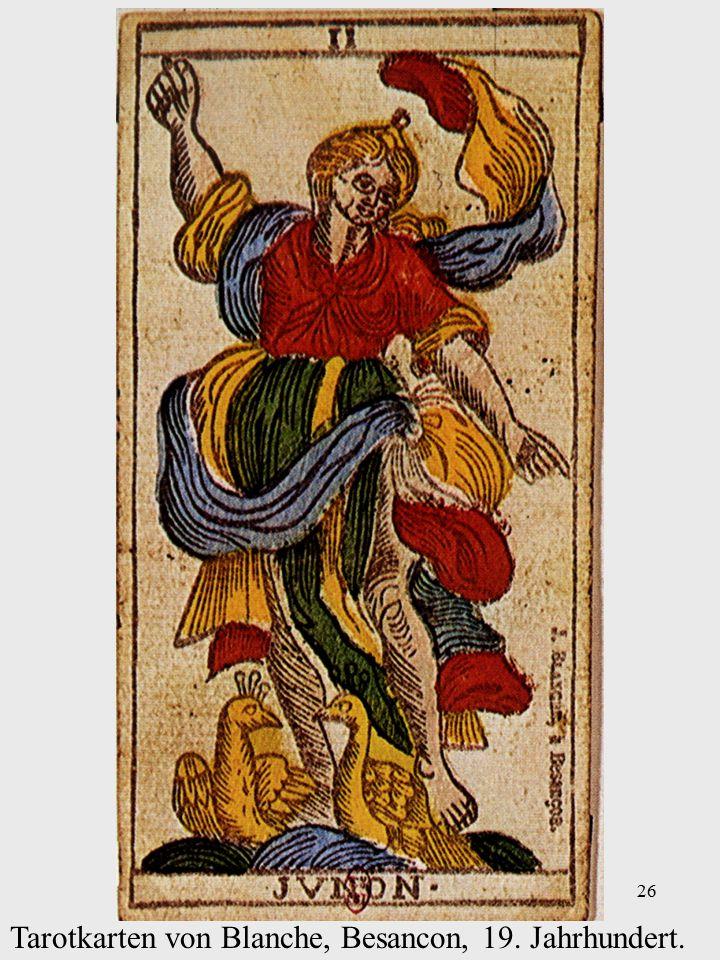26 Tarotkarten von Blanche, Besancon, 19. Jahrhundert.