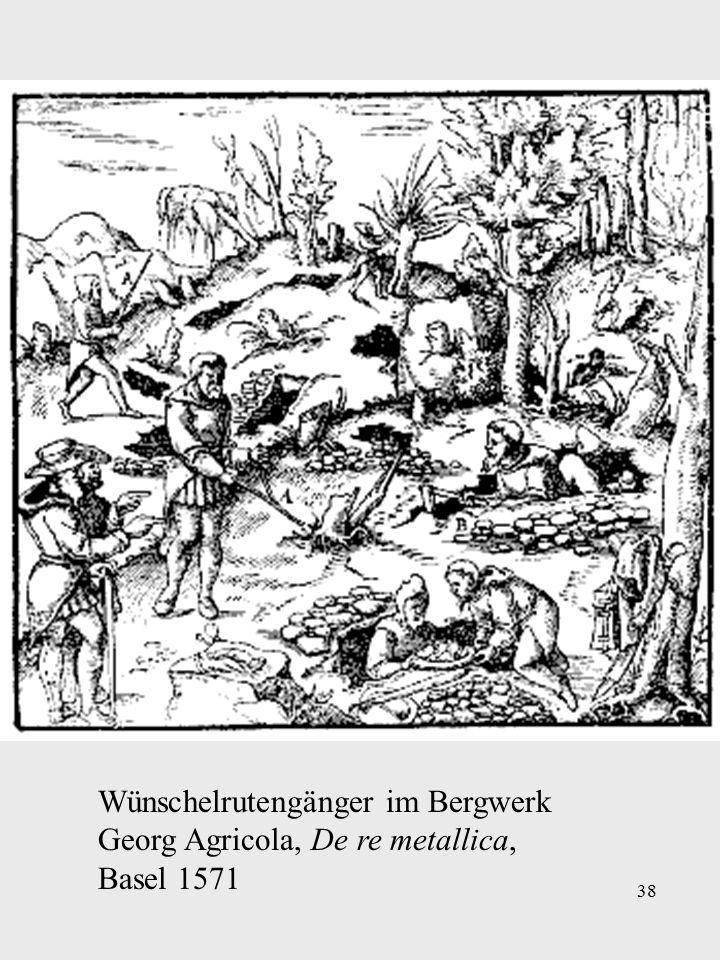 38 Wünschelrutengänger im Bergwerk Georg Agricola, De re metallica, Basel 1571