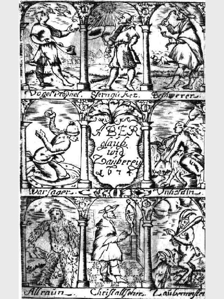 41 Wahrsager, Hellseher, Zauberer - beigefügter Kupferstich aus Anhorn von Hartwiss Magiologia - 1674