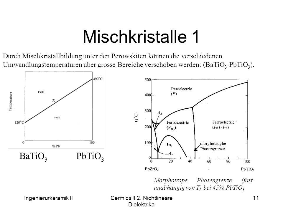 Ingenierurkeramik IICermics II 2. Nichtlineare Dielektrika 11 Mischkristalle 1 Durch Mischkristallbildung unter den Perowskiten können die verschieden