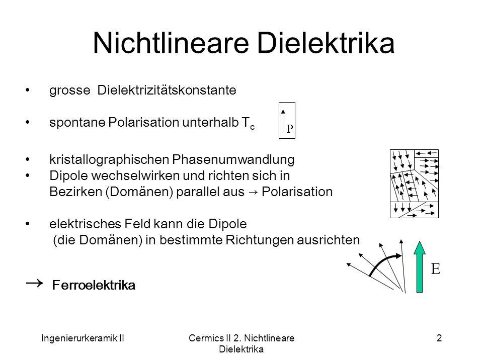 Ingenierurkeramik IICermics II 2. Nichtlineare Dielektrika 2 Nichtlineare Dielektrika grosse Dielektrizitätskonstante spontane Polarisation unterhalb