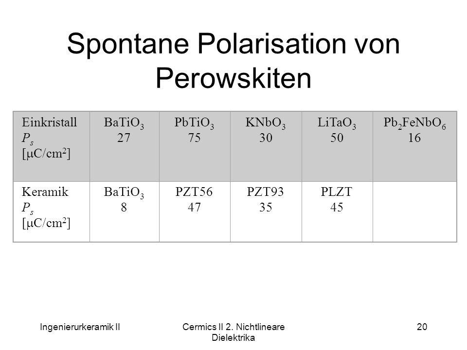Ingenierurkeramik IICermics II 2. Nichtlineare Dielektrika 20 Spontane Polarisation von Perowskiten Einkristall P s [  C/cm 2 ] BaTiO 3 27 PbTiO 3 75