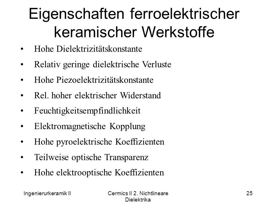 Ingenierurkeramik IICermics II 2. Nichtlineare Dielektrika 25 Eigenschaften ferroelektrischer keramischer Werkstoffe Hohe Dielektrizitätskonstante Rel