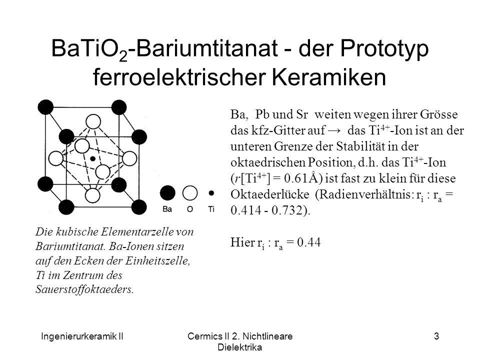 Ingenierurkeramik IICermics II 2. Nichtlineare Dielektrika 3 BaTiO 2 -Bariumtitanat - der Prototyp ferroelektrischer Keramiken Die kubische Elementarz
