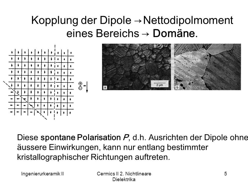 Ingenierurkeramik IICermics II 2. Nichtlineare Dielektrika 5 Kopplung der Dipole → Nettodipolmoment eines Bereichs → Domäne. Diese spontane Polarisati