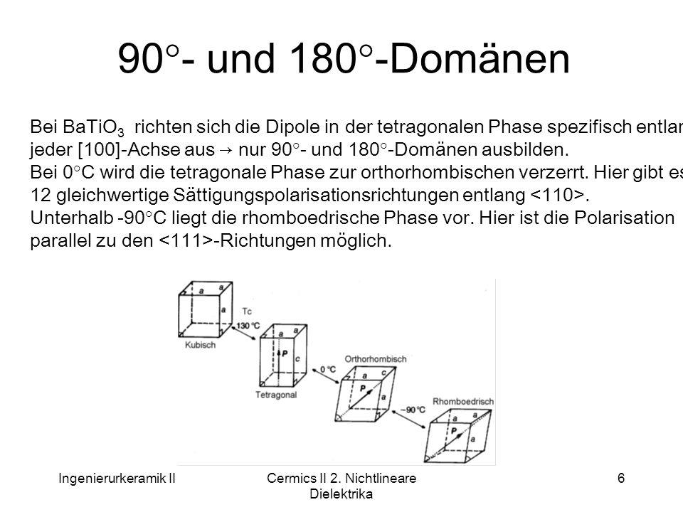 Ingenierurkeramik IICermics II 2. Nichtlineare Dielektrika 6 90°- und 180°-Domänen Bei BaTiO 3 richten sich die Dipole in der tetragonalen Phase spezi