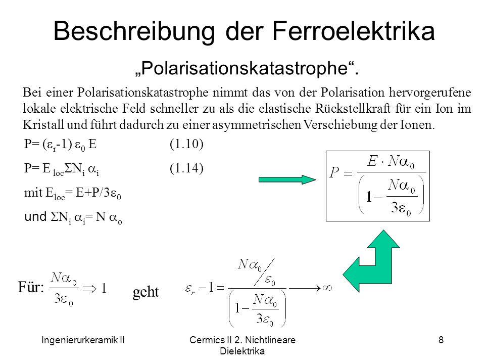 """Ingenierurkeramik IICermics II 2. Nichtlineare Dielektrika 8 Beschreibung der Ferroelektrika """"Polarisationskatastrophe"""". Bei einer Polarisationskatast"""