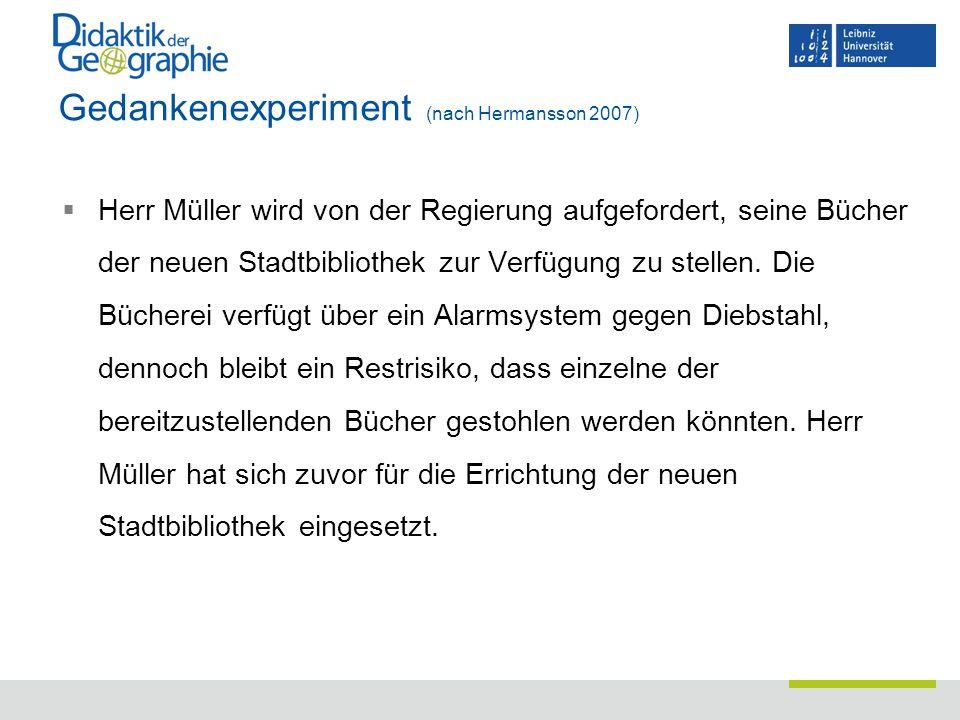 Gedankenexperiment (nach Hermansson 2007)  Herr Müller wird von der Regierung aufgefordert, seine Bücher der neuen Stadtbibliothek zur Verfügung zu s