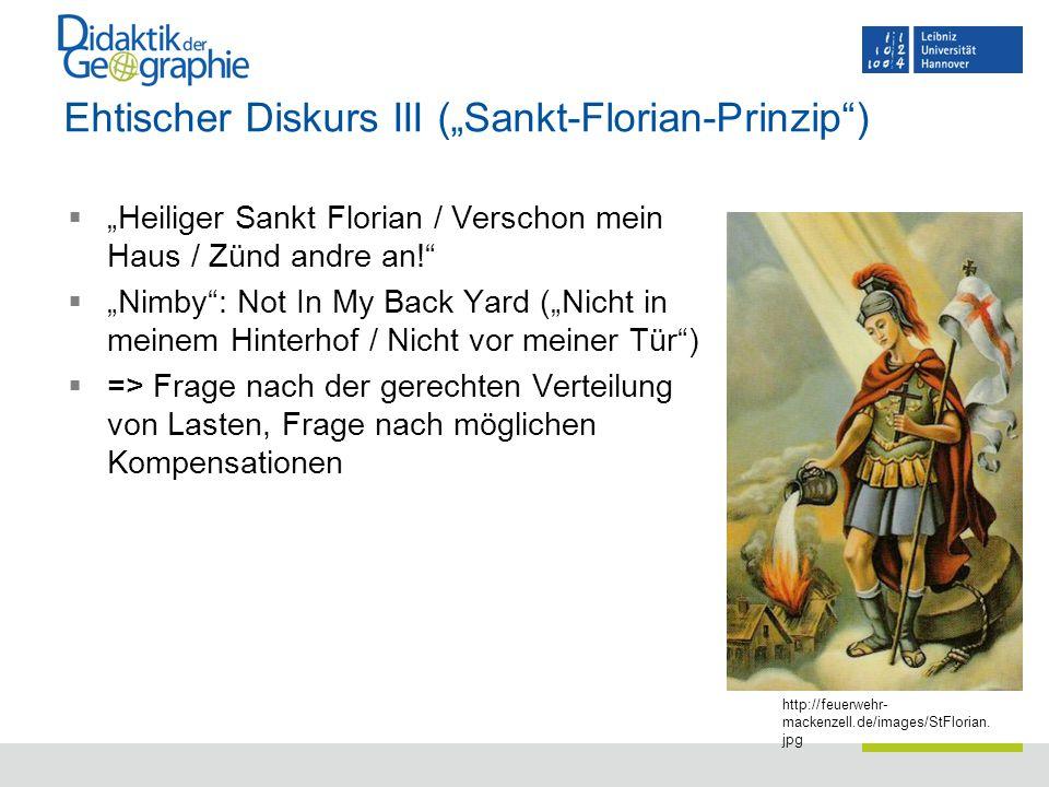 "Ehtischer Diskurs III (""Sankt-Florian-Prinzip"")  ""Heiliger Sankt Florian / Verschon mein Haus / Zünd andre an!""  ""Nimby"": Not In My Back Yard (""Nich"