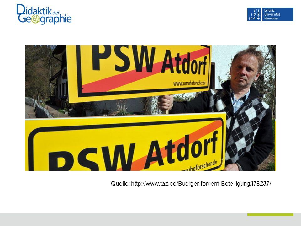 Material  Homepage Didaktik der Geographie, Leibniz Universität Hannover  -> Unterrichtshilfen -> Bewertungskompetenz  http://www.didageo.uni-hannover.de/index.php?id=61 http://www.didageo.uni-hannover.de/index.php?id=61  Bitte um Rückmeldungen!