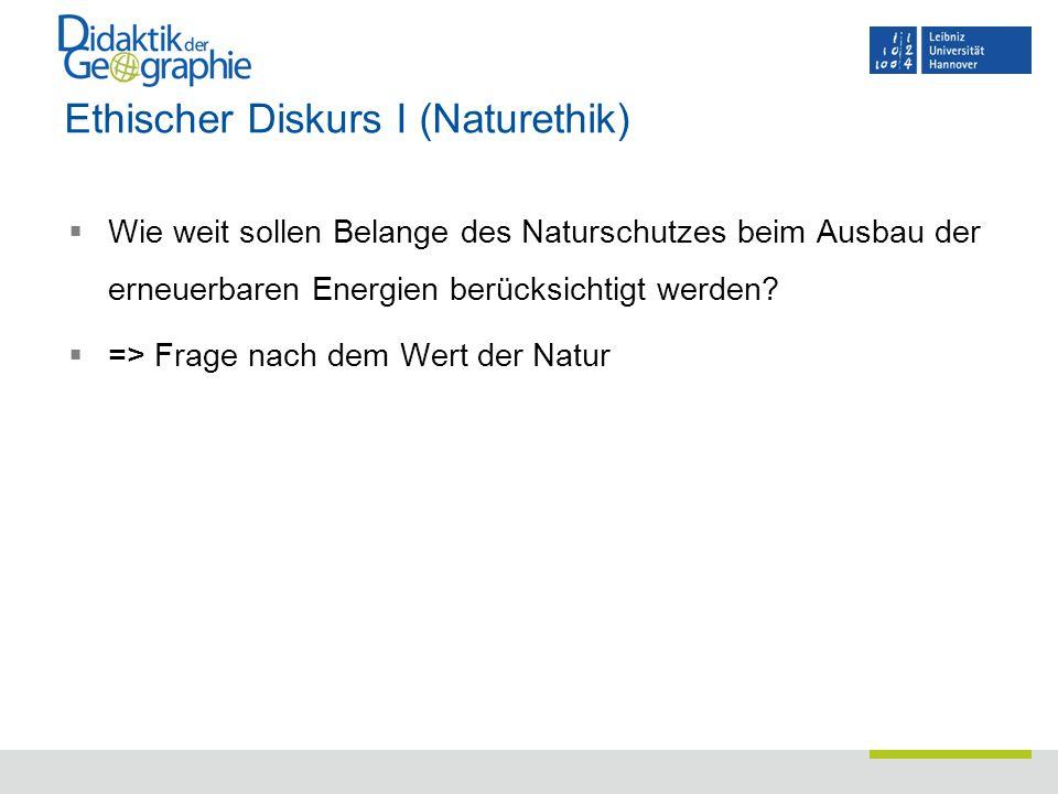 Ethischer Diskurs I (Naturethik)  Wie weit sollen Belange des Naturschutzes beim Ausbau der erneuerbaren Energien berücksichtigt werden?  => Frage n