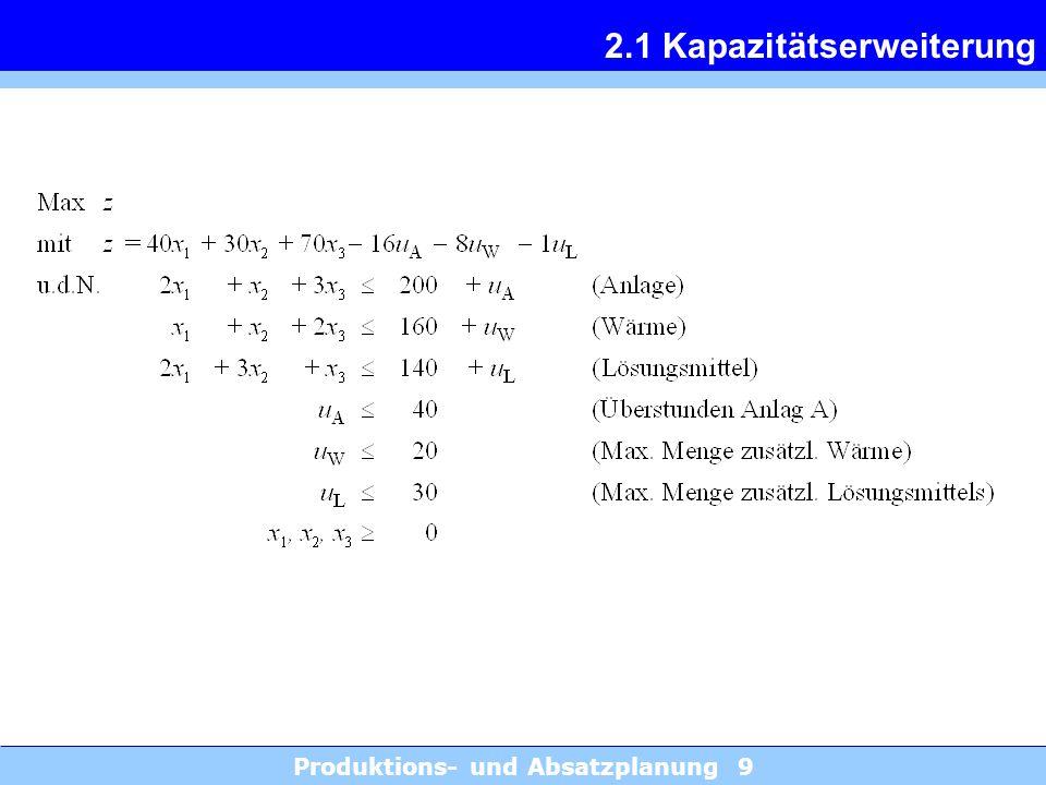 Produktions- und Absatzplanung 9 2.1 Kapazitätserweiterung