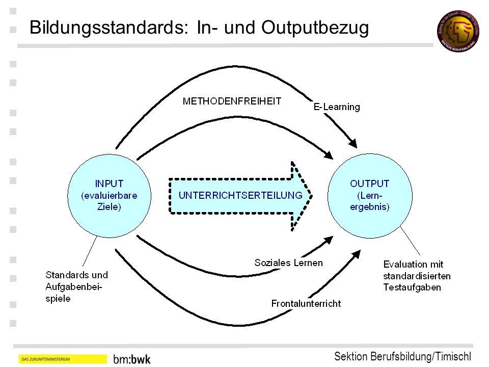 Sektion Berufsbildung/Timischl : : : : : : : Bildungsstandards: In- und Outputbezug